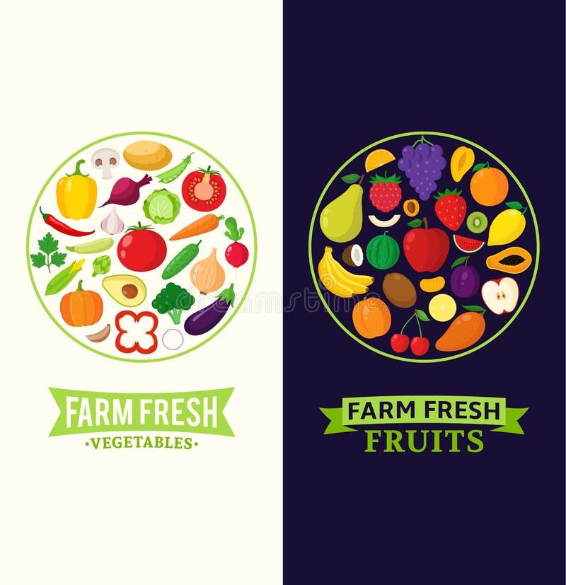 Vektorgemüse- und -fruchtausweise stock abbildung