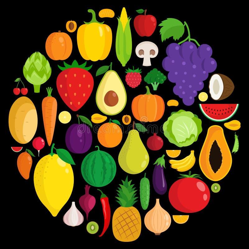 Vektorgemüse- und -fruchtikonen stock abbildung