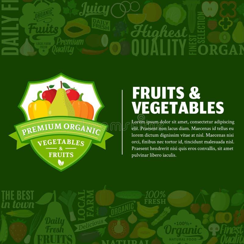Vektorgemüse- und -fruchtillustration stock abbildung