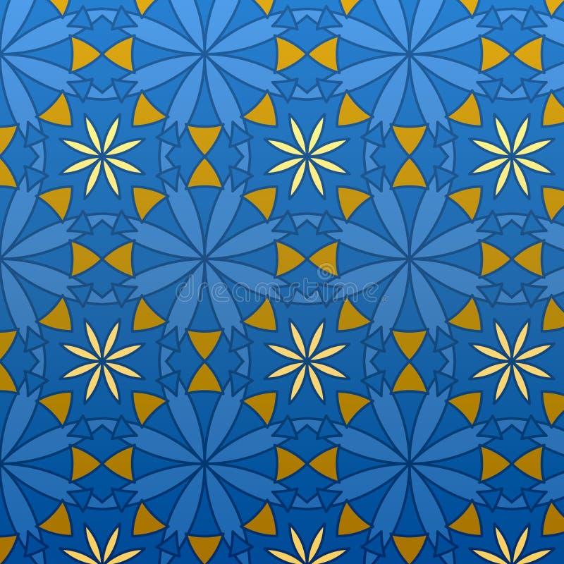 Vektorgeometrisches blaues nahtloses Muster stock abbildung