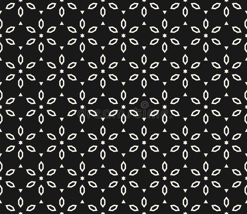 Vektorgeometrisches Blumenmuster Nahtlose Schwarzweiss-Beschaffenheit lizenzfreie abbildung