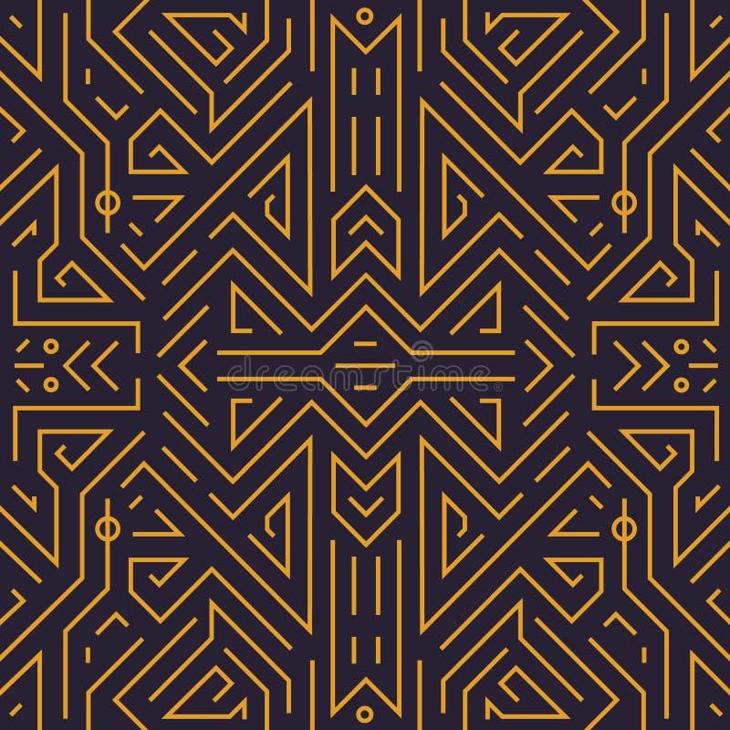 Vektorgeometrisches nahtloses Muster Deco der Monogrammabstrakten kunst linearer Hintergrund, Weinleseart Gebrauch für Luxus stock abbildung