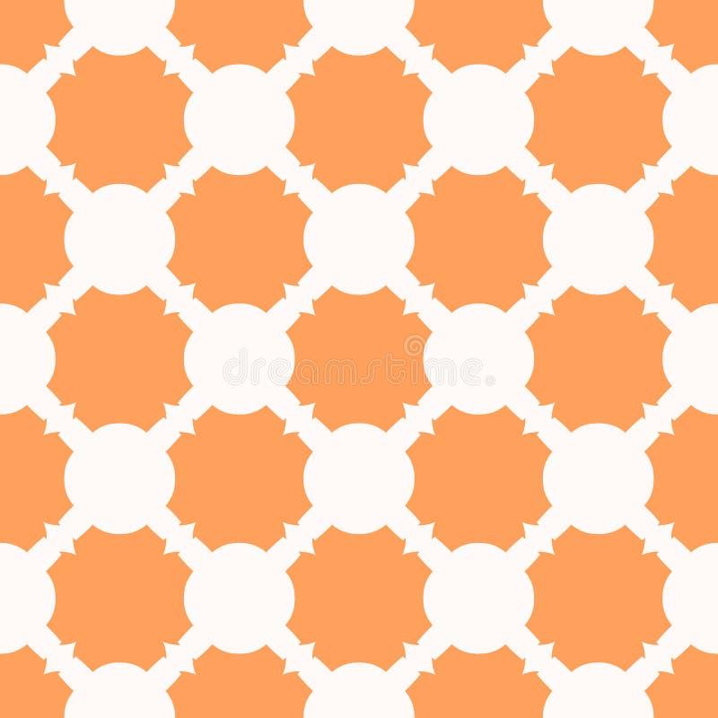 Vektorgeometrisches nahtloses Muster Orange und weiße Beschaffenheit mit geschnitzten Formen lizenzfreie abbildung