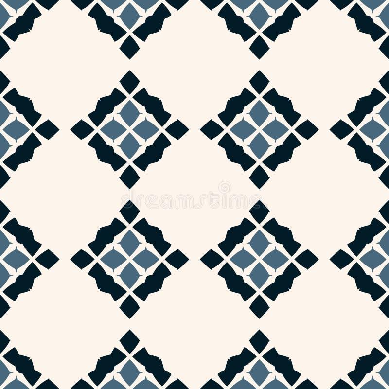 Vektorgeometrisches nahtloses Muster Volksverzierung Schwarze, blaue und weiße Farben vektor abbildung