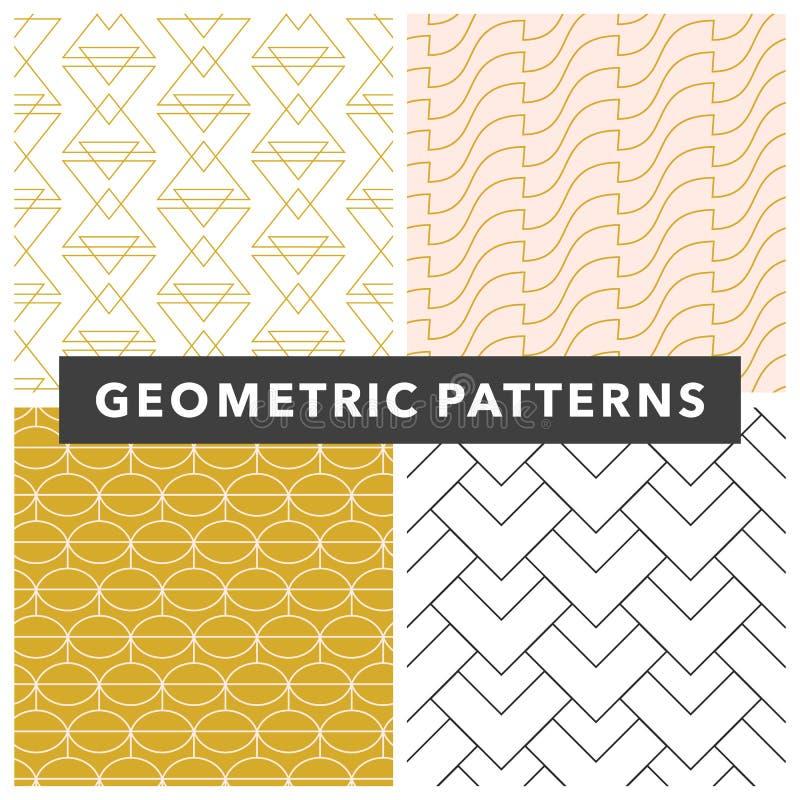 Vektorgeometrisk sömlös mönsteruppsättning, svart, guld och vit elegant minsta dekorfärg vektor illustrationer