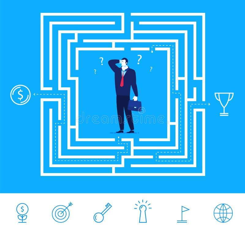 Vektorgeschäfts-Konzeptillustration Geschäftsmann, der wie man das Labyrinth denkt, führt stock abbildung