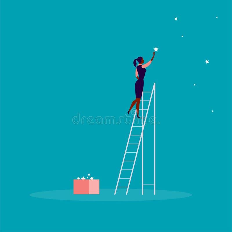 Vektorgeschäfts-Konzeptillustration mit Geschäftsdame, die auf Treppe steht und Stern auf dem Himmel erreicht Hintergrund für ein stock abbildung