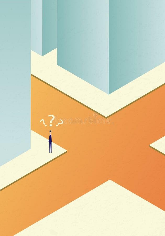 Vektorgeschäftsfinanzierung zwei Geschäftsmann Confused an der Kreuzung Eps10 Illustration, Symbol-Wachstum, Wirtschaft, Investit lizenzfreie abbildung