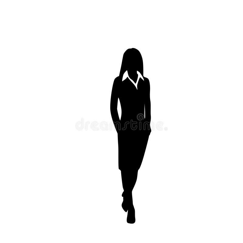 VektorGeschäftsfrauschwarzschattenbild-Wegschritt lizenzfreie abbildung