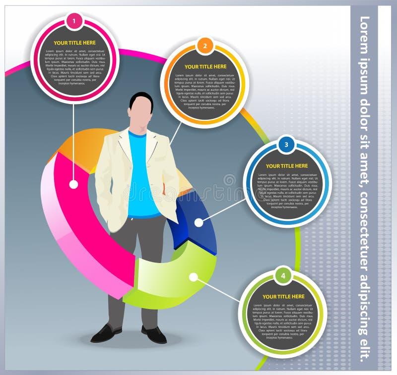 Vektorgeschäftshintergrund mit Diagramm und Manager stock abbildung