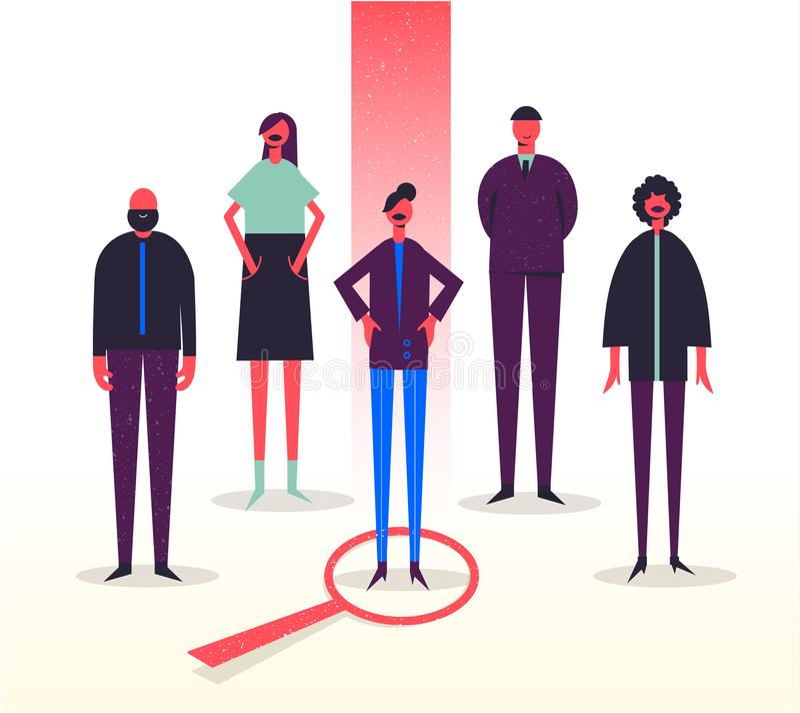 Vektorgeschäftsillustration, stilisierte Charaktere Einstellung, Hauptjagd, Jobsuchen Wählen ein von anderen stock abbildung