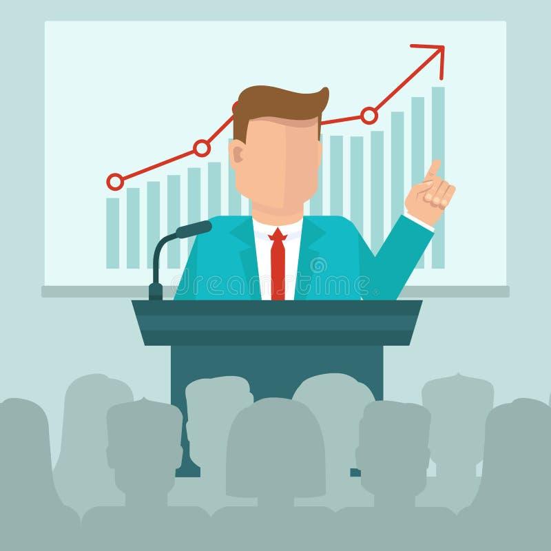 VektorGeschäftskonferenzkonzept in der flachen Art stock abbildung