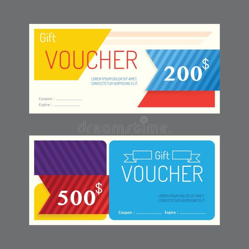Vektorgeschenkgutscheinkupon-Schablonendesign Papieraufkleberrahmen MO lizenzfreie abbildung