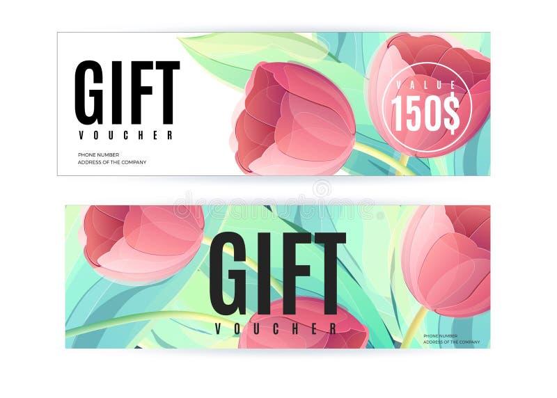 Vektorgeschenkgutscheinschablone mit Tulpenblumen Geschäftsblumenkarte lizenzfreie abbildung