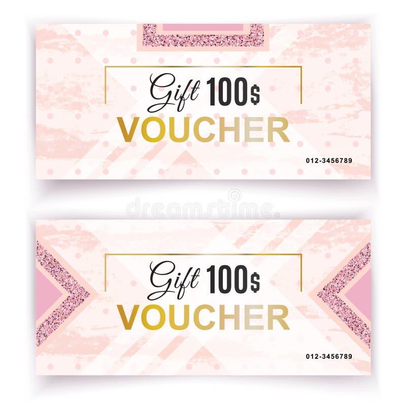 Vektorgeschenkgutscheinschablone Universalflieger für Geschäft weißer rosa Luxusmarmor mit Goldblättern für Abteilung stock abbildung