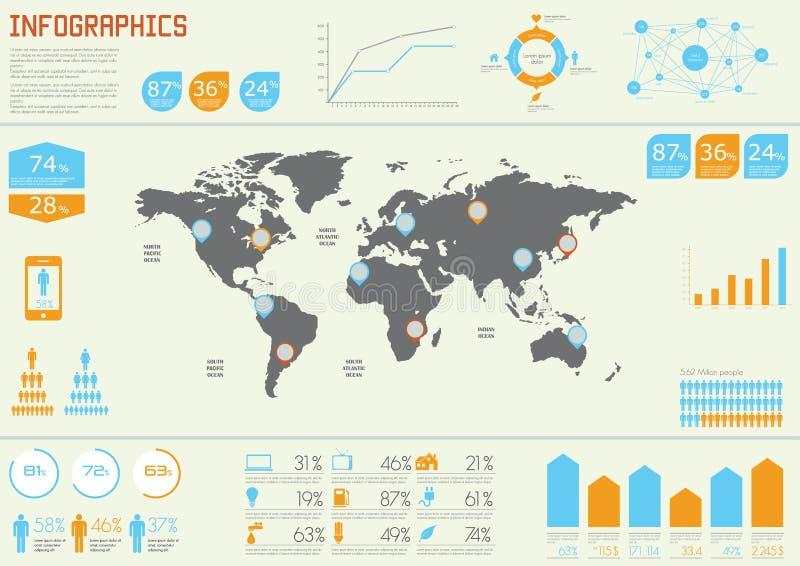 Vektorgesetzte Elemente von infographic vektor abbildung