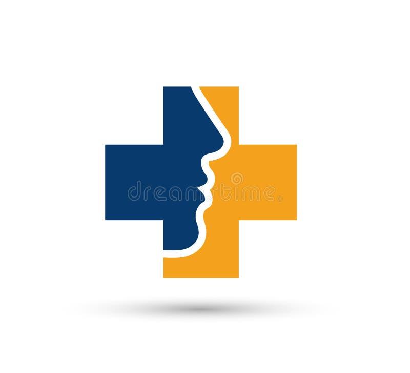 Vektorgesichtsmädchen, Sorgfalt, Schönheit medizinischer Logo Icon Design lizenzfreie abbildung