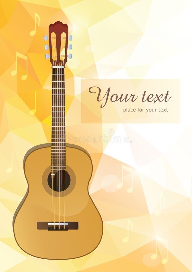 Vektorgitarr med polygonal bakgrund stock illustrationer