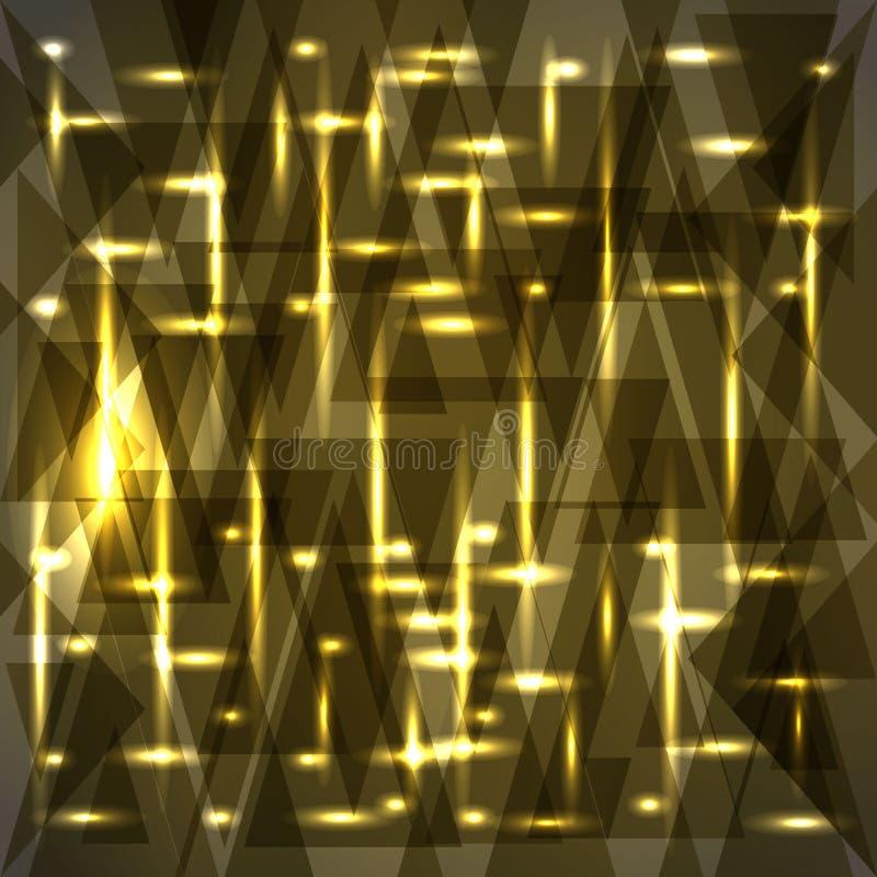 Vektorglänzendes Bronzefarbmuster von Scherben und von Streifen stock abbildung