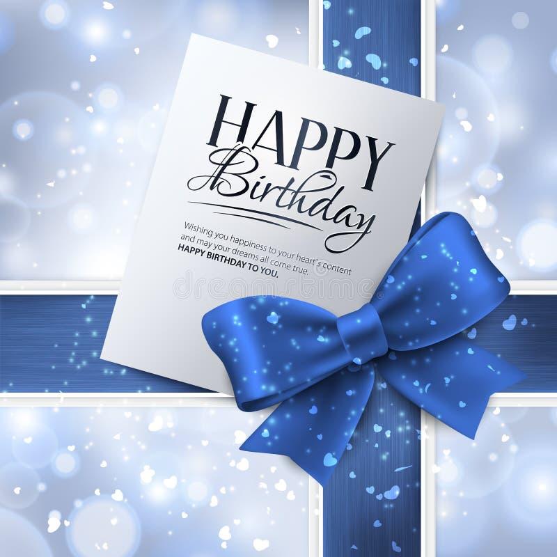 Vektorglückwunschkarte mit blauem Band und Geburtstag stock abbildung