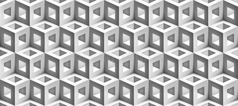 Vektorgnäggandet skära i tärningar textur, den ljusa geometriska sömlösa modellen, design som vit bakgrund för dig projekterar stock illustrationer