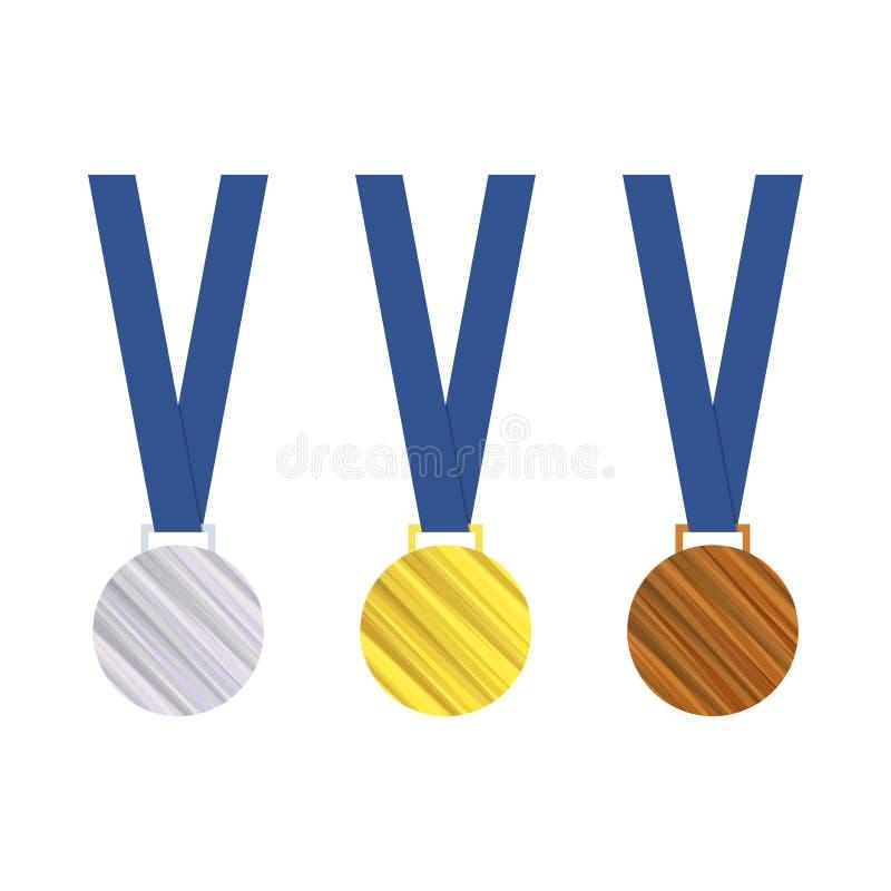 Vektorgold-, silberne und Bronzemedaillen Trophäe in der Meisterschaft, Spiele Getrennt auf weißem Hintergrund Abbildung des vektor abbildung