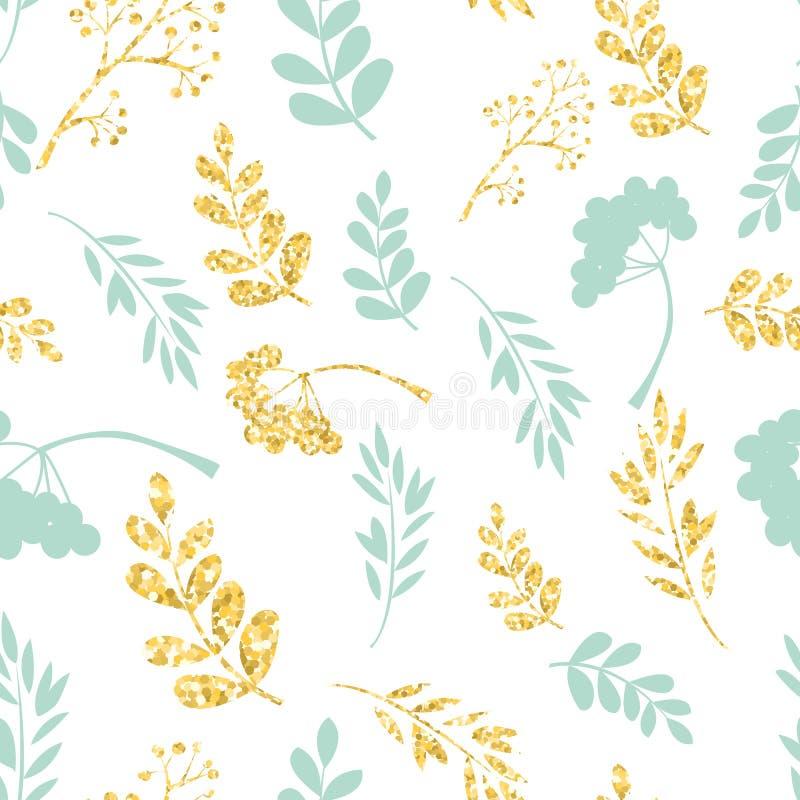 Vektorgold und blaues nahtloses Muster Ursprüngliche Blumenverzierung auf weißem Hintergrund Modische Funkelnbeschaffenheit lizenzfreie abbildung