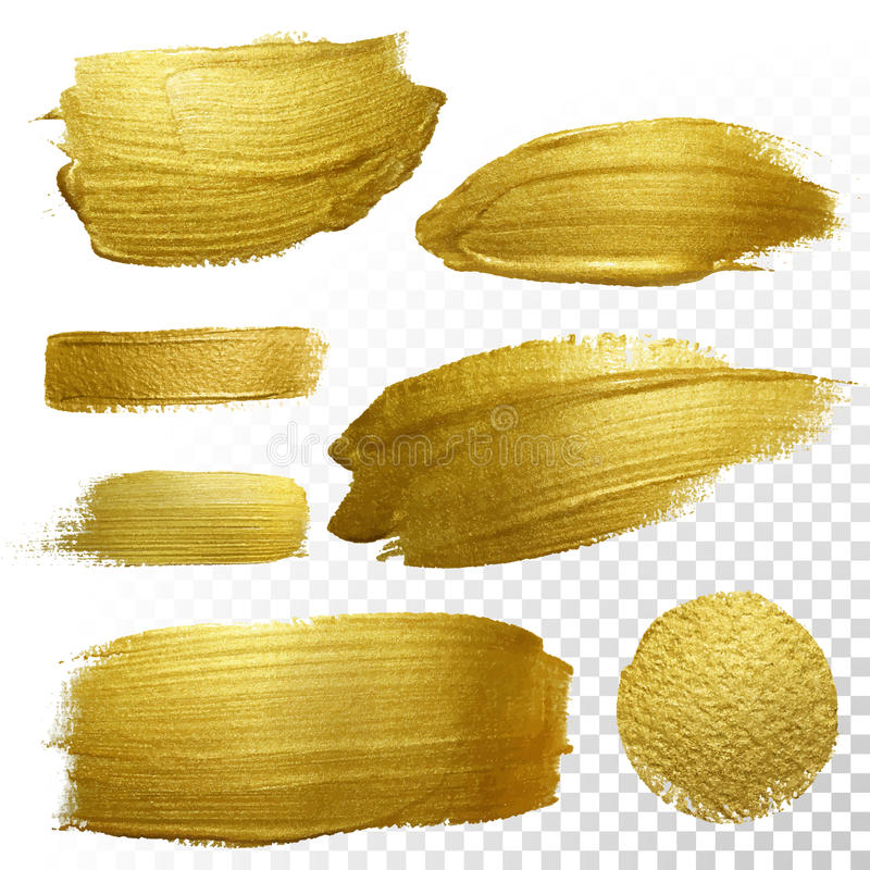 Vektorgoldfarbenabstrichanschlag-Flecksatz stock abbildung