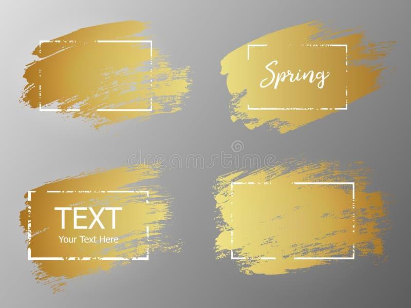 Vektorgoldfarbenanschlag mit Grenzrahmen Schmutziges künstlerisches desig lizenzfreie abbildung