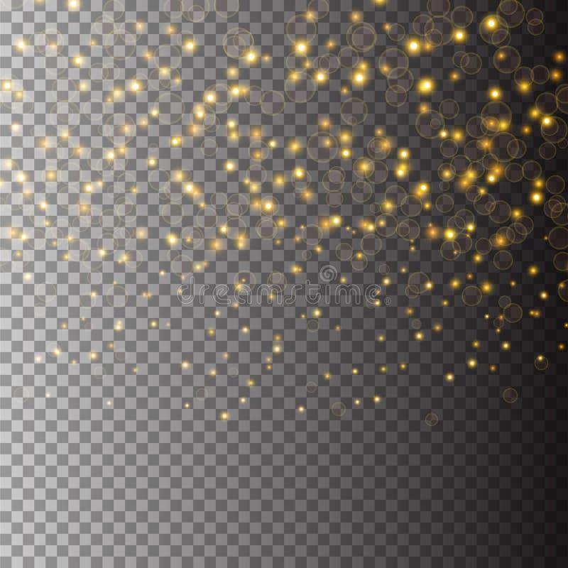Vektorgoldfunkelnpartikel-Hintergrundeffekt für Luxusgrußreichkarte Funkelnde Beschaffenheit Sternstaub funkt herein stock abbildung