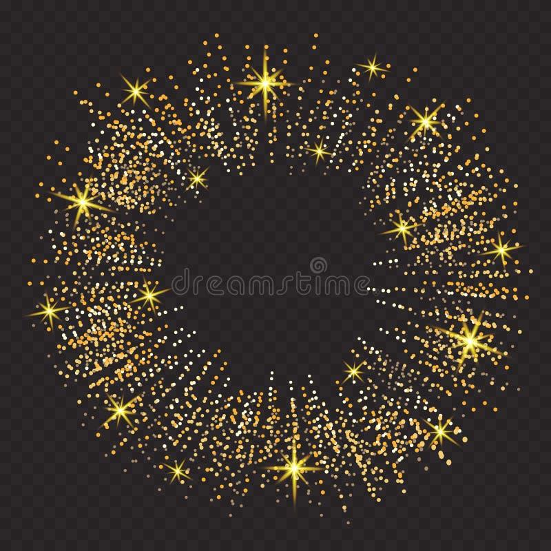 Vektorgoldfunkelnpartikel-Hintergrundeffekt Funkelnde Beschaffenheit Abstrakter Hintergrund, goldene Scheine auf Schwarzem lizenzfreie abbildung