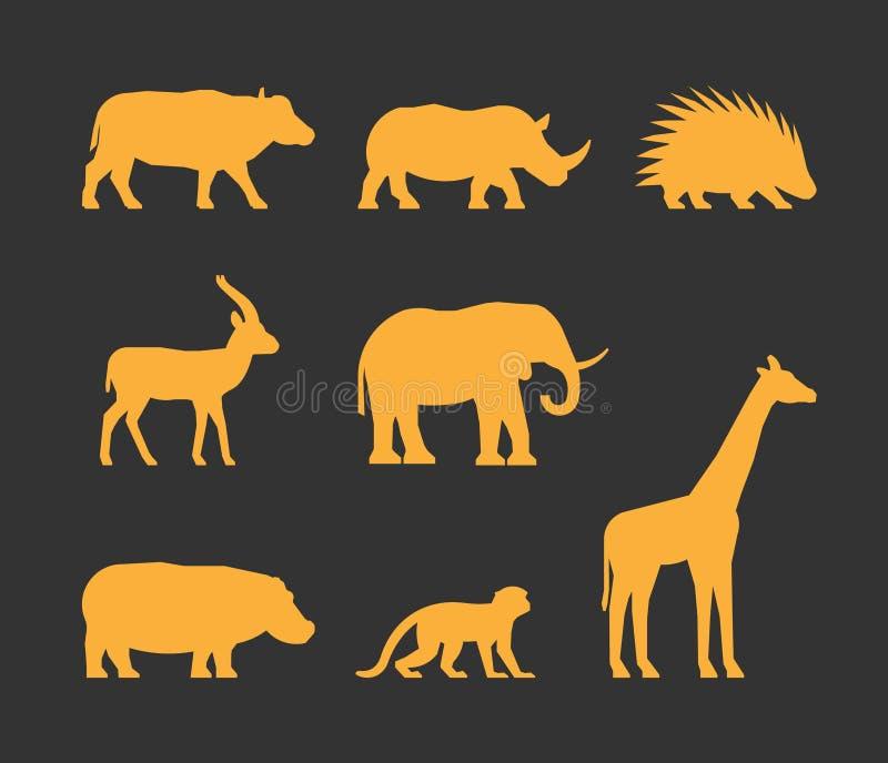 Vektorgoldsatz Schattenbildafrikanertiere stock abbildung