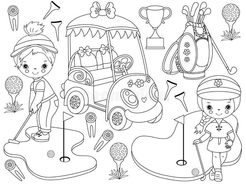 Vektorgolfuppsättning med gulliga små flickor som spelar golf och golftillbehör vektor illustrationer