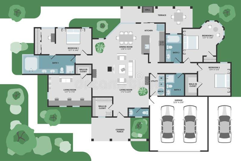 Vektorgolvplan av ett hus vektor illustrationer