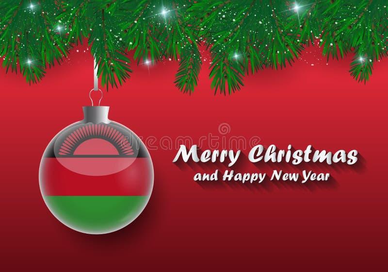 Vektorgräns av den julgranfilialer och bollen med Malawi fl stock illustrationer