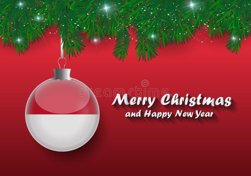 Vektorgräns av den julgranfilialer och bollen med Monaco fl royaltyfri illustrationer