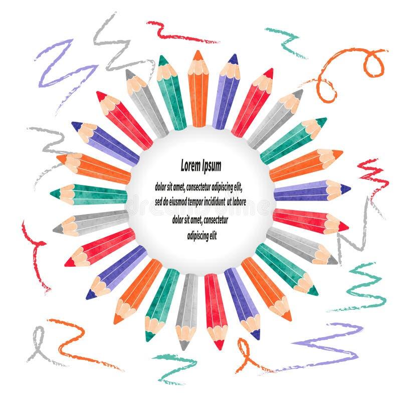 Vektorgränsram med färgrika blyertspennor vektor illustrationer
