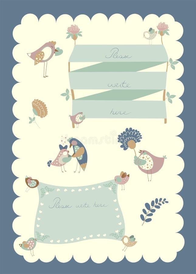 Vektorgränsuppsättning, fåglar och blommor stock illustrationer