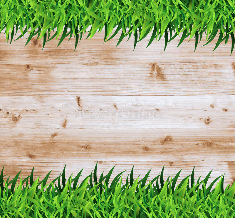 Vektorgräs med trä stock illustrationer