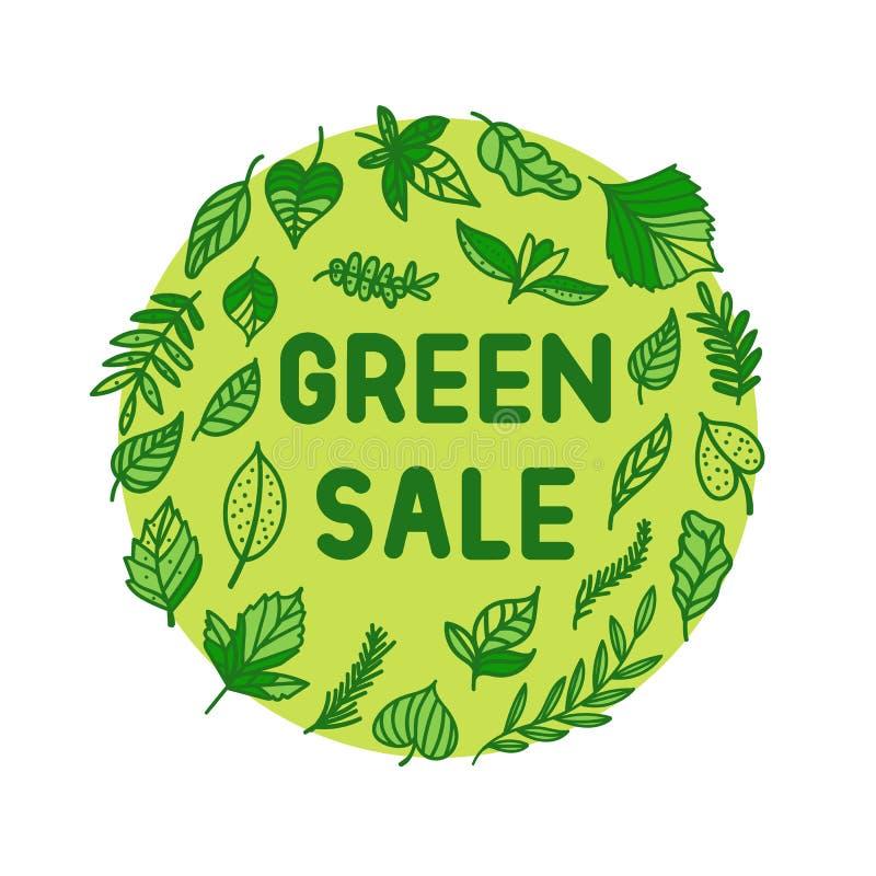 Vektorgräsplan Sale med illustrationen för ecostilsidor Rund tryckram med inskriften royaltyfri illustrationer