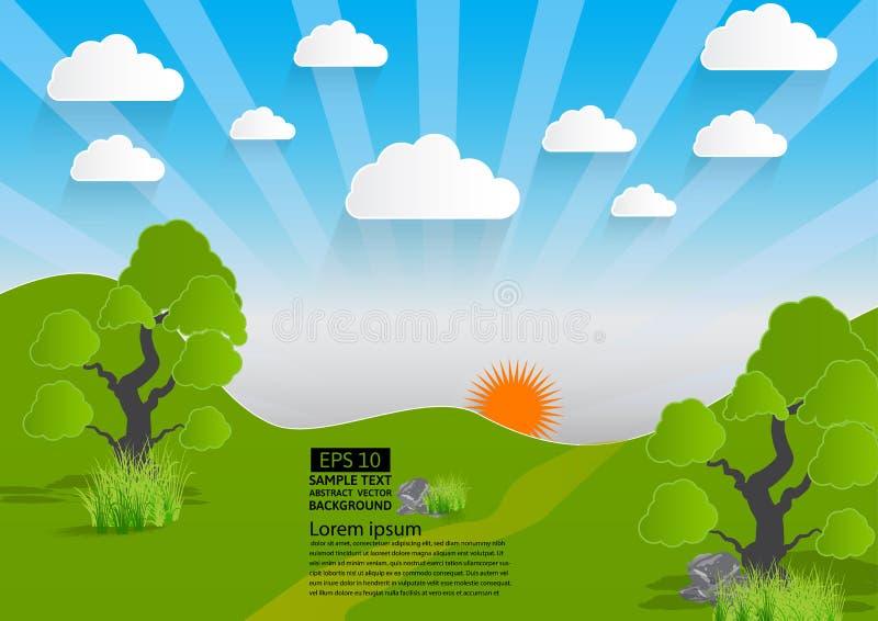 Vektorgräsplanlandskap, berg med träd och moln, pappers- konststil vektor illustrationer