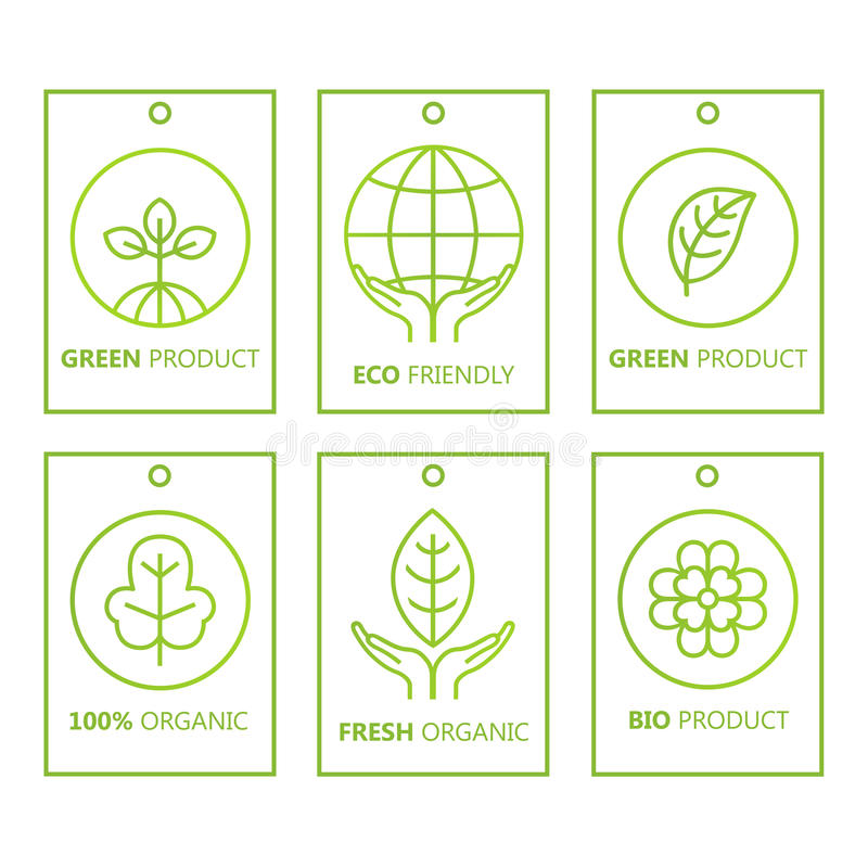 Vektorgräsplanuppsättning av etiketter i linjär stil för organiska produkter, mat och skönhetsmedel royaltyfri illustrationer
