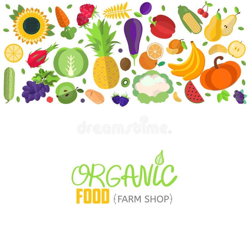 Vektorgrönsak- och frukttitelrad vektor illustrationer