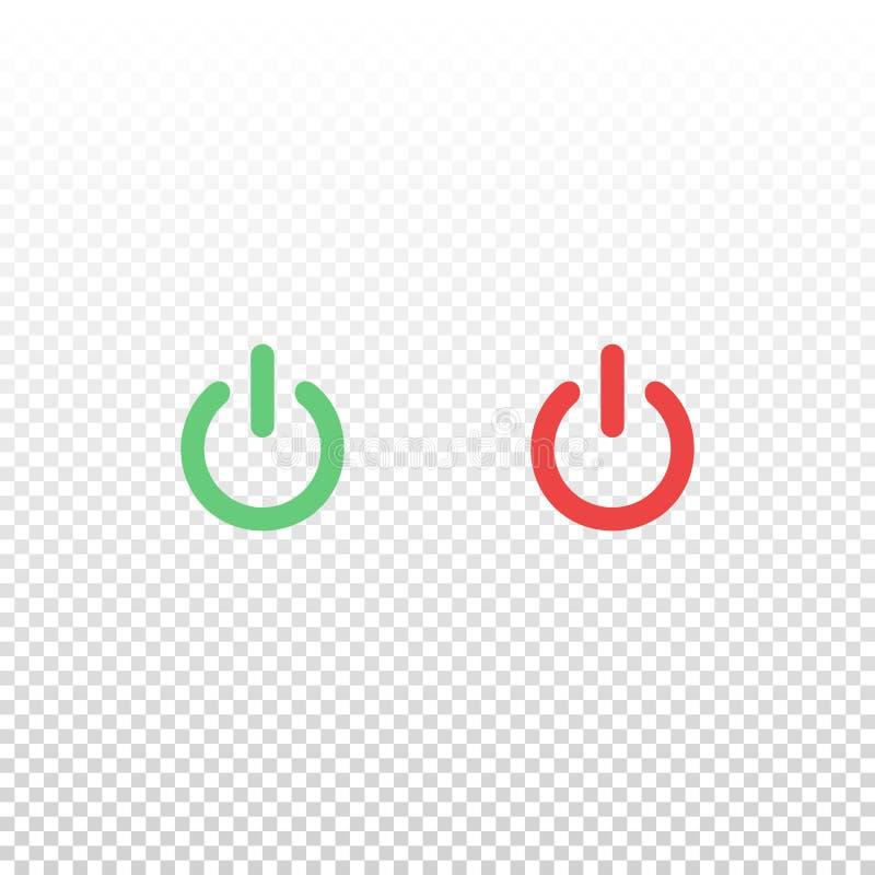 Vektorgrün und rote An-/Aus-Schalter-Ikone Element für beweglichen App oder Website des Entwurfs lizenzfreie abbildung