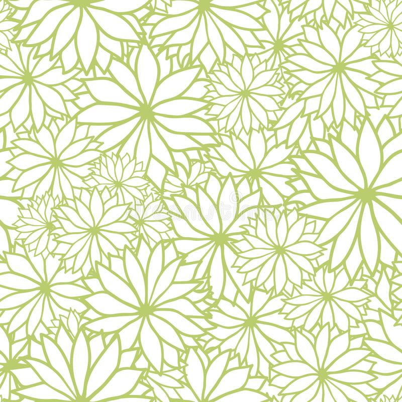 Vektorgrün- und weißesnahtloses mit Blumenmuster stock abbildung