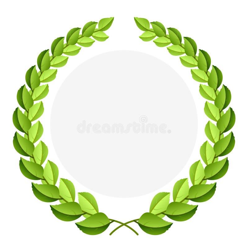 Vektorgrüner Lorbeer Wreath stock abbildung