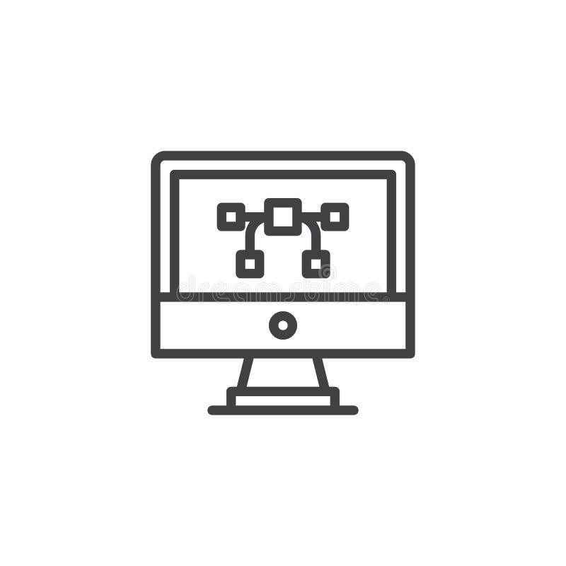 Vektorgrafik auf Computerbildschirm-Entwurfsikone stock abbildung