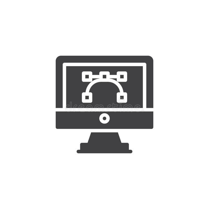 Vektorgrafik auf Computerbildschirm-Vektorikone lizenzfreie abbildung