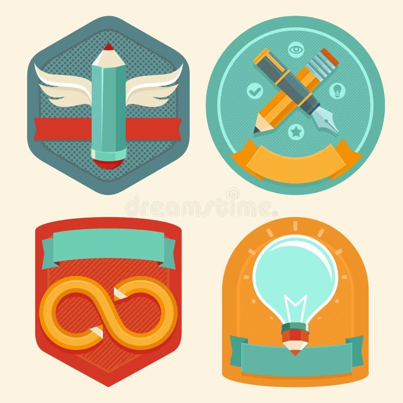 Vektorgrafikdesignembleme und -ikonen stock abbildung
