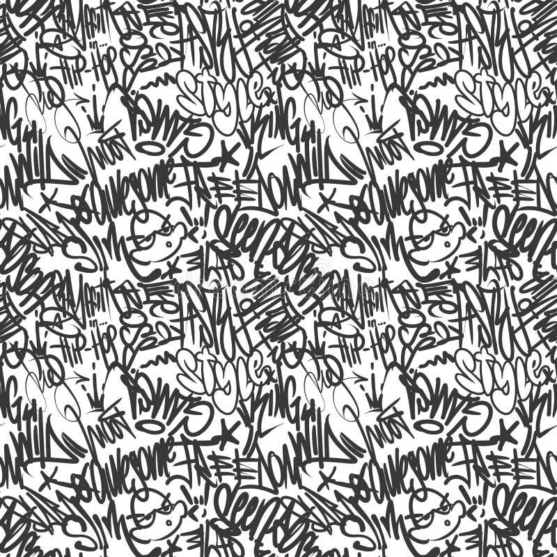 Vektorgrafitti märker den sömlösa modellen, tryckdesign vektor illustrationer